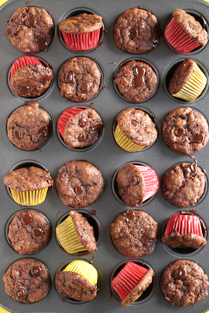 Don't be fooled by their size, these vegan mini muffins pack a double dose of chocolatey goodness! This recipe is quick, easy and perfect for kids and adults alike!