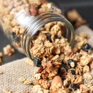 This delicious recipe for Healthy Blueberry Almond Granola is so incredibly easy, you'll never go back to store-bought granola again! Vegan, gluten free, with no added oil or refined sugar!